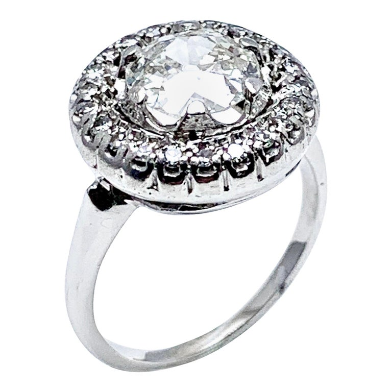 1.48 Carat Old European Cut and Single Cut Diamond White Gold Ring For Sale