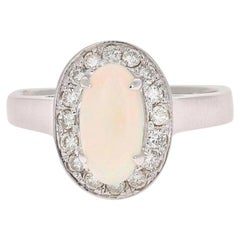1.48 Carat Oval Cut Opal Diamond White Gold Cocktail Ring