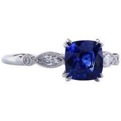 1.48 Carat Royal Blue Cushion Sapphire with Marquise Diamonds in Platinum Ring