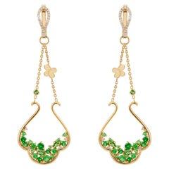 1.48 Carat Tsavorite Garnet Diamond Yellow Gold Dangle Chandelier Earrings