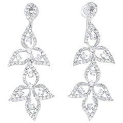1.48 Carat White Diamond Flower Drop Earring