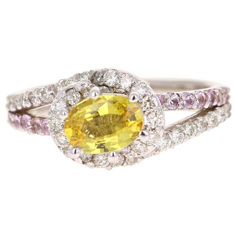 1.48 Carat Yellow Sapphire Pink Sapphire Diamond 14 Karat White Gold Ring