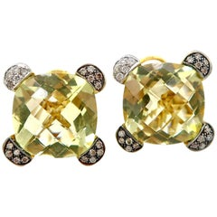 14.80 Carat Lemon Quartz Champagne White Diamond Clip Earrings Omega Backings