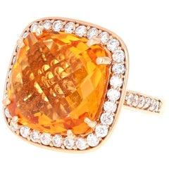 14.81 Carat Citrine Quartz Diamond 14 Karat Rose Gold Cocktail Ring