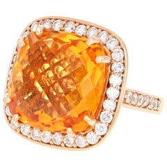 14.81 Carat Citrine Quartz Diamond 14 Karat Rose Gold Cocktail Ring