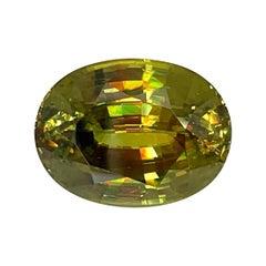 14.81 Carat Sphene Oval Unset Loose Pendant Necklace Enhancer Collector Gemstone