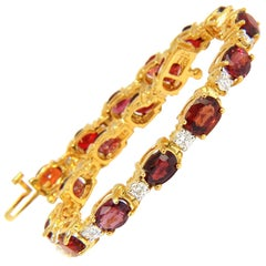 14.81ct Natural No Heat Red Spinel Diamonds Tennis Bracelet 14KT Unheated
