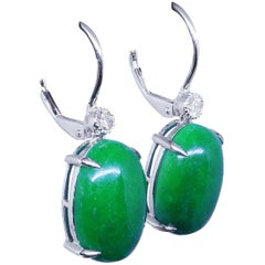 14.83 Carat Jade Earrings Diamond Drop 18 Carat White Gold