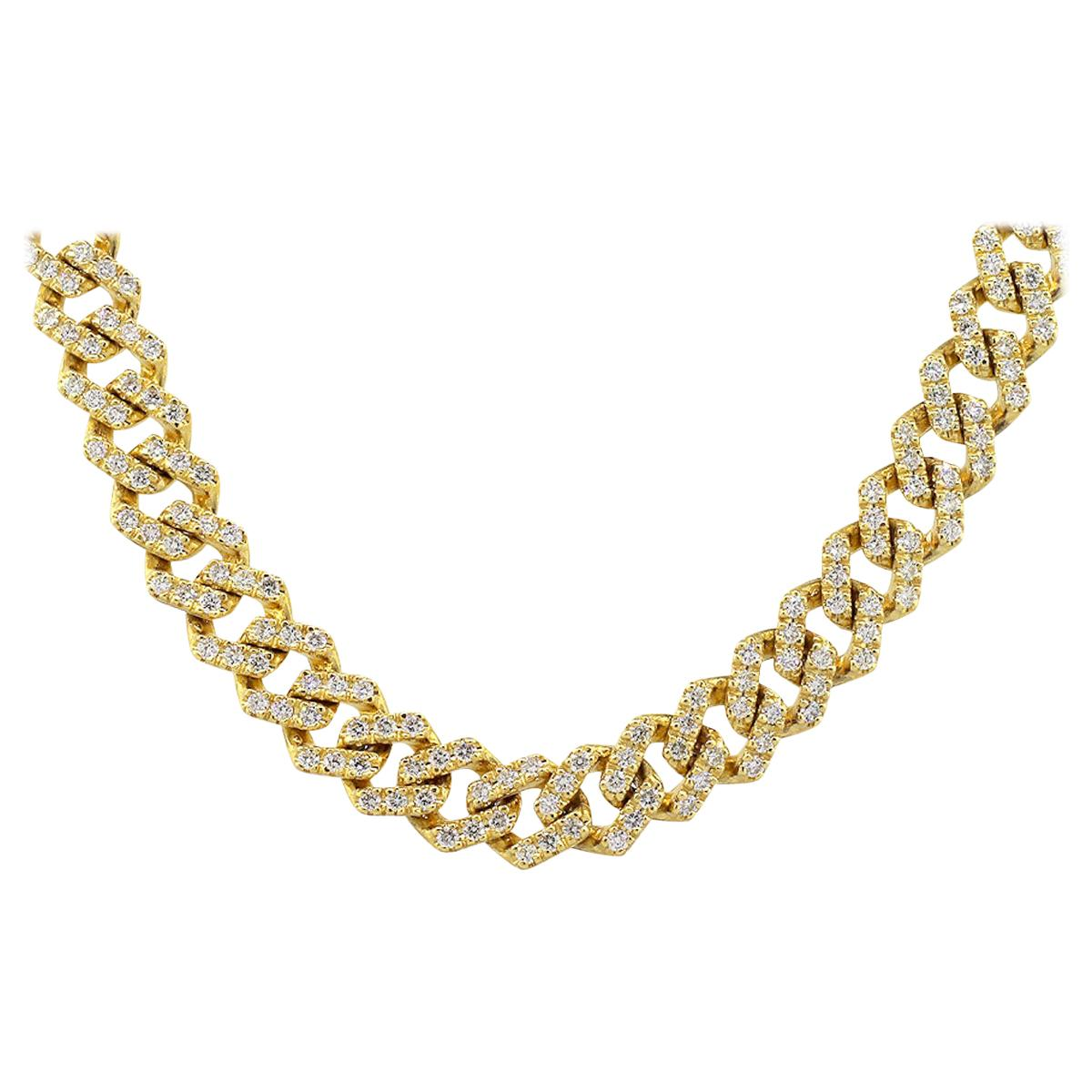 14.83 Carat Round Diamond Pave Cuban Link Chain Necklace 14 Karat