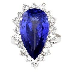 14.83 Carat Tanzanite 18 Karat White Gold Diamond Ring