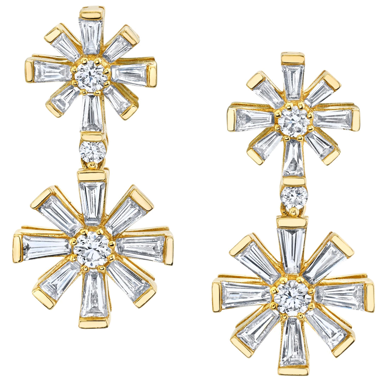 Stars & Snowflakes - Diamond Yellow Gold Drop Dangle Post Earrings, 1.49 ct. t.w