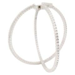 1.49 Carat Diamond Large Hoop Earrings 14 Karat White Gold