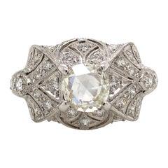 1.49 Carat Edwardian Inspired Diamond Ring 18 Karat White Gold