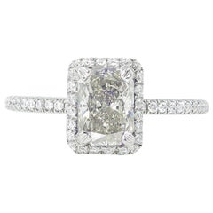 1.49 Carat Estate Vintage Radiant Diamond Wedding Ring Platinum EGL USA