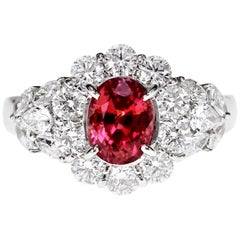 1.49 Carat Hot Red Ruby and Diamond Ring