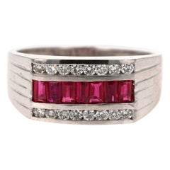 1.49 Carat Men's Ruby Diamond 14 Karat White Gold Ring