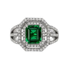 1.49 Carat No-Oil Emerald and Diamond Halo Ring
