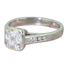 1.49 Carat Old Cut Diamond Platinum Engagement Ring