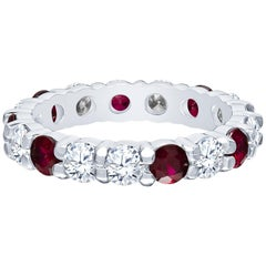 1.49 Carat Total Ruby with 1.53 Carat Total Diamonds, Platinum Eternity Band