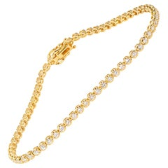 1.49 Carat Yellow Gold Diamond Tennis Bracelet