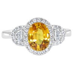 1.49 Carat Yellow Sapphire and Diamond White Gold Cocktail Ring