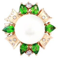 Gold South Sea Pearl, Tsavorite 18 Karat Solid Rose Gold Diamond Ring