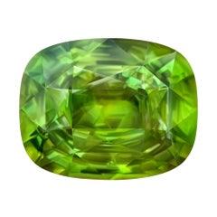 14.92 Carat Natural Vivid Apple Green Madagascar Sphene Cushion Shape