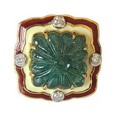 14.94 Carat Natural Emerald Ring with Enamel Diamond Set in 18 Karat Gold