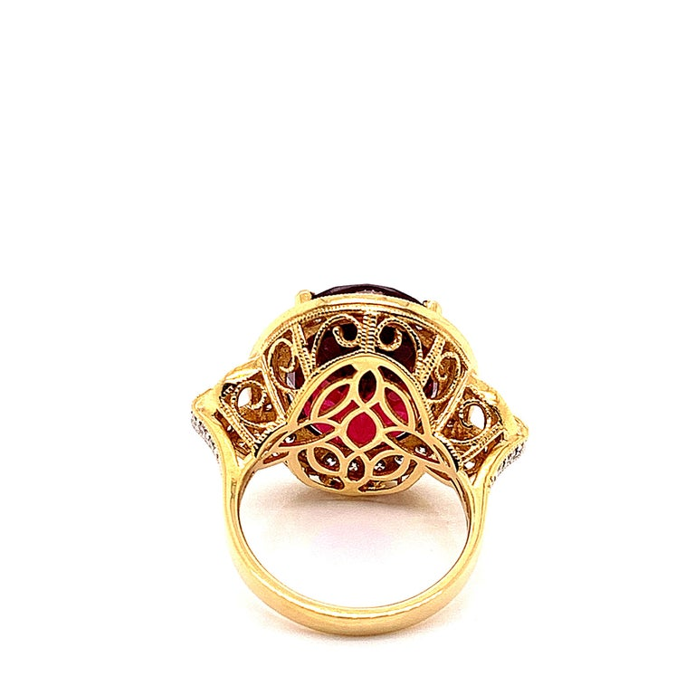 14.95 Carat Oval Shaped Rubelite Ring in 18 Karat Yellow Gold with Diamonds In New Condition For Sale In Hong Kong, Kowloon