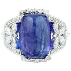 14.95 Carat Tanzanite Diamond Ring 18 Karat White Gold