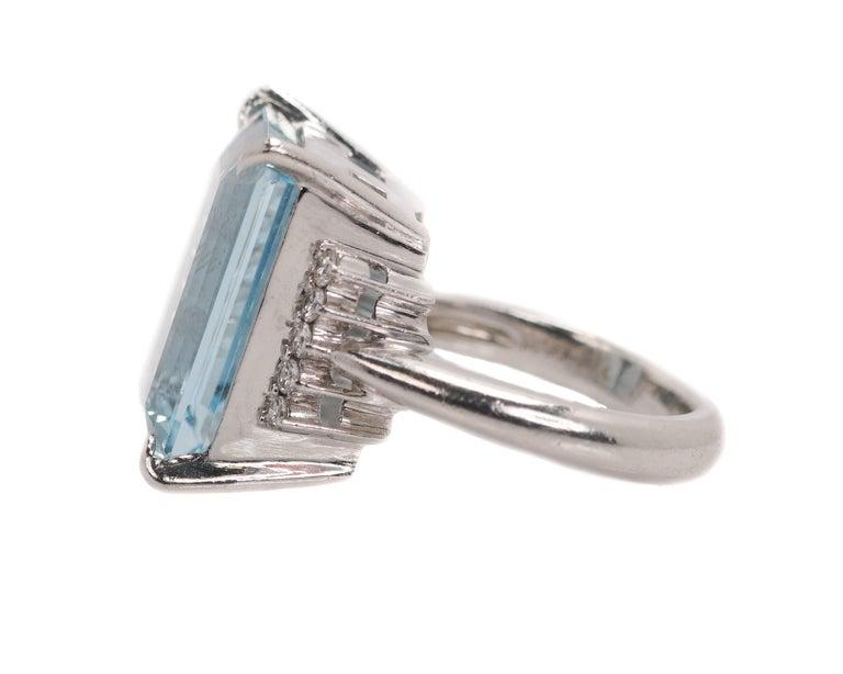 Women's 14.96 Carat Aquamarine and Diamond Platinum Ring For Sale