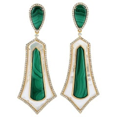14.96 Carat Malachite Mother of Pearl Diamond 18 Karat Gold Earrings