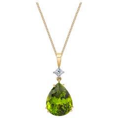 14.96 ct. Peridot & Diamond, 18k Yellow & White Gold, Teardrop Pendant Necklace