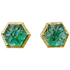 14.97 Carat Emerald and Yellow Diamond Studs Earring