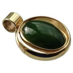 14ct 585 Gold Jade Danish Pendant Era, 1950