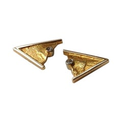 14ct Gold Contemporary Vintage Diamond Earrings