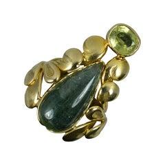 14ct Gold Green Tourmaline Cabochon and Peridot Floral Ring