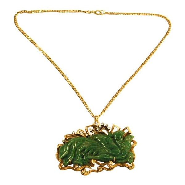 14ct Gold Pendant with Carved Jade Dragon and Diamonds on 9ct Chain, circa 1950