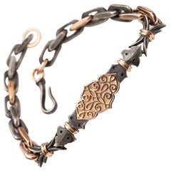 14ct Rose Gold & Oxidized Sterling Silver Filigree Link Bracelet by Harlin Jones
