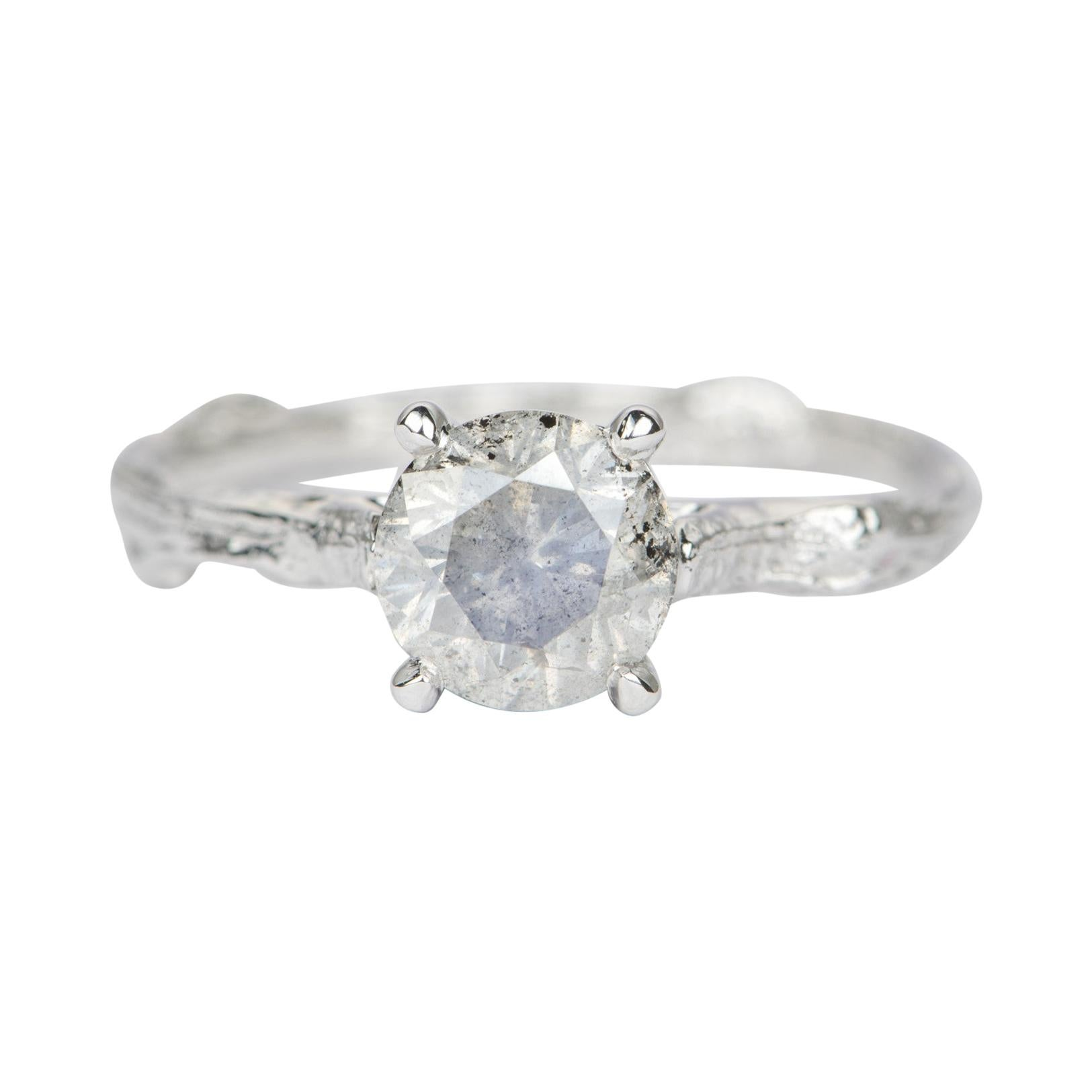 1.4ct Solitaire Salt and Pepper Diamond 14k White Gold Engagement Ring AD2196-1