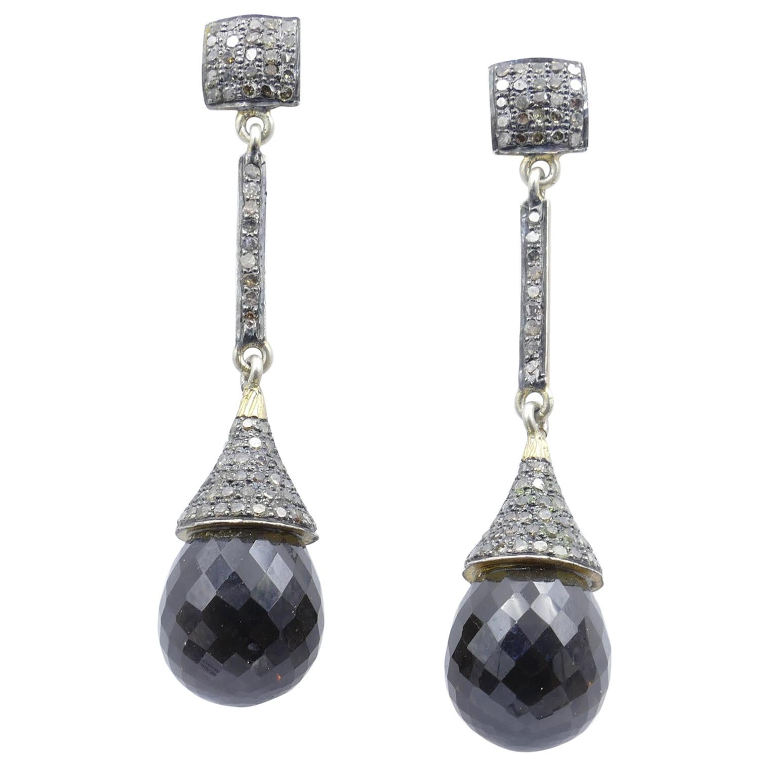 14ct Yellow Gold and Sterling Silver Diamond and Smoky Quartz Long Drop Earrings