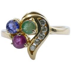 14 Carat Yellow Gold Ruby, Emerald, Sapphire and Diamond Ring