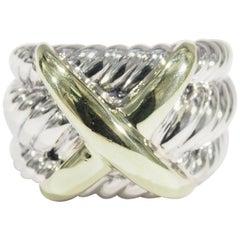 14 Karat 18 Karat David Yurman X Ring Sterling Silver Yellow Gold