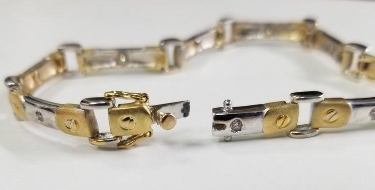 Modern 14 Karat 2-Tone Diamond Bracelet For Sale
