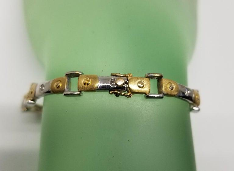Round Cut 14 Karat 2-Tone Diamond Bracelet For Sale