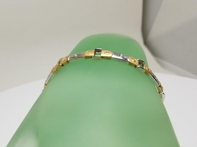 Women's 14 Karat 2-Tone Diamond Bracelet For Sale