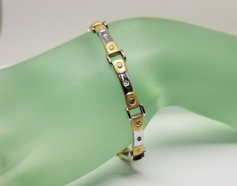 14 Karat 2-Tone Diamond Bracelet For Sale 1