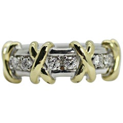 "14 Karat 2-Tone Diamond ""X"" Ring"