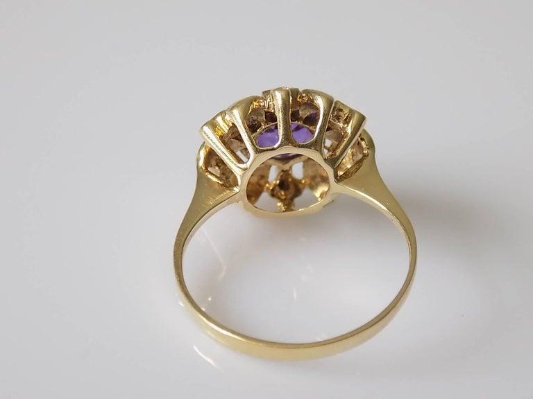 Retro 14 Karat Amethyst Gold Solitaire Flower Ring For Sale