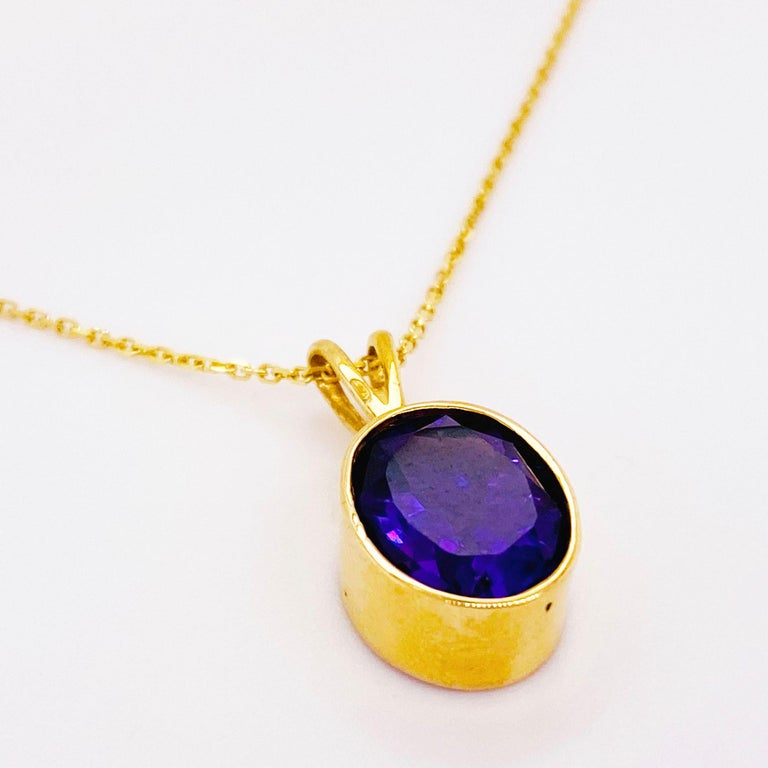 Contemporary 14 Karat Amethyst Necklace in 14 Karat Gold Bezel with Chain, Adjustable Lengths For Sale